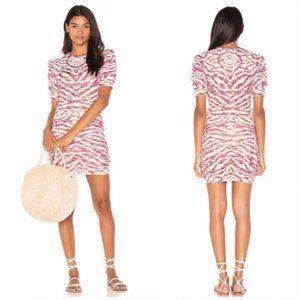 Free People Zebra Knit Pink Cream Mini Dress NWT